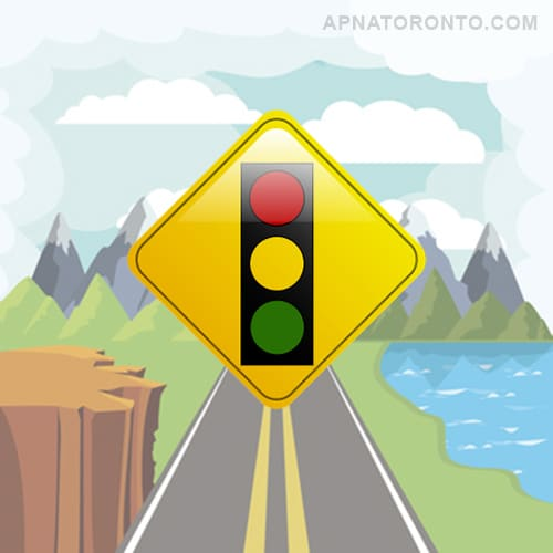 Traffic lights ahead. Slow down