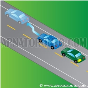 another vehicle attempts to pass