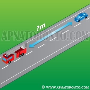 distance drivers must maintain from an emergency vehicle