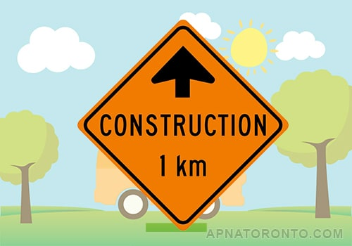 Construction work one kilometre ahead