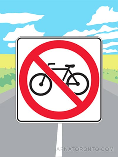 No bicycles allowed on this road